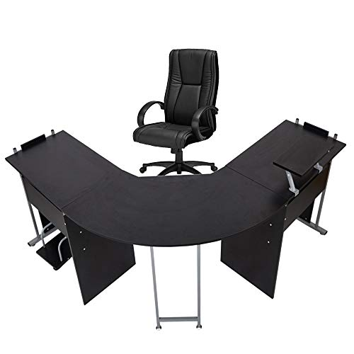 """71"""" L-Shaped Gaming Desk -Large Desktop 22"""" Wide Wood Curved Corner Office Desk -Sturdy Computer Writing Desks PC Laptop Table Workstation for Home Office, Black"""