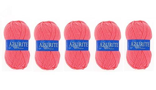 Lot 5 Pelotes de laine Azurite 100% Acrylique Tricot Crochet Tricoter - Corail - 3015
