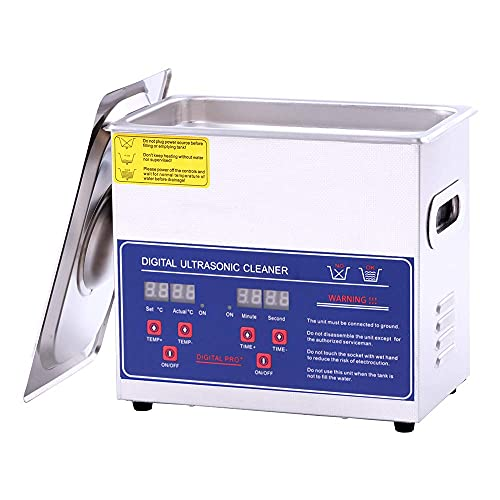 3L Ultrasonic Cleaner with Digital Timer and Heater, Professional 40kHz Retainer Denture and Jewelry Cleaner, Home Ultrasonic Cavitation Machine for Glasses Watches Electronic Dental Tools More