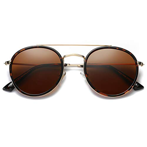 DUSHINE Small Round Double Bridge Sunglasses For Women Men Polarized 100% UV Protection