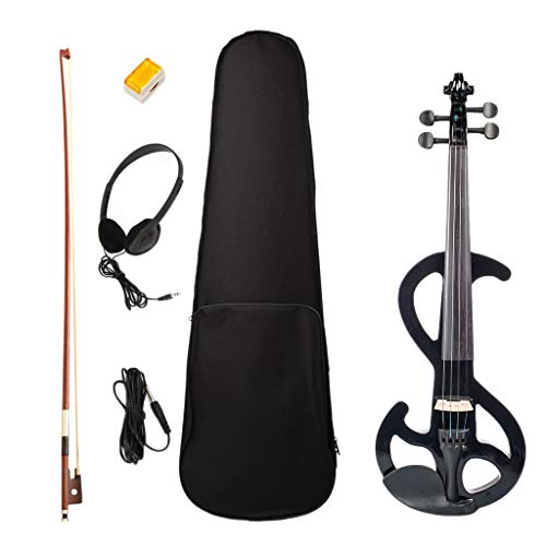 Solidwood Electric Silent Violin Black with Rosin Bow Hard Case Headphone...