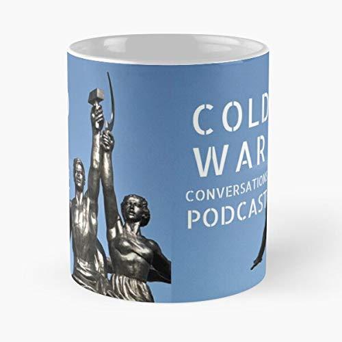 Taza de café de cerámica de 315 ml con texto en inglés 'Guerra de Berlín', 'Frío, Historia Rusa de Berlín'