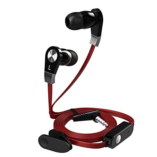 Snow Island Noodle Line Flat Cable In-Ear Handsfree Hoofdtelefoon Oortelefoon Oordopjes Subwoofer Mobiele Telefoon 3.5mm Draadbediening Oortelefoon In-ear Oordopjes Rood