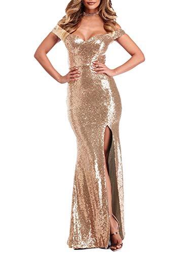 Women's Off Shoulder Sequins Evening Dress Long Mermaid Side Slit Formal Dresses Rose Gold 2