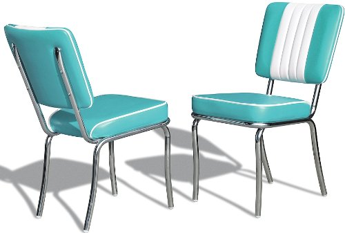 Bel Air Küchenstuhl 2-er Set Esszimmerstuhl Dinerstuhl Bürostühle 50er Jahre Stuhl Diner Stühle (Türkis/White)