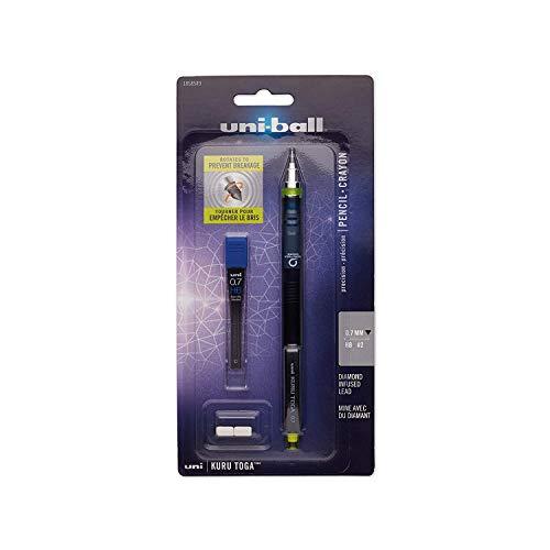 【海外モデル】uni-ball KURUTOGA 0.7mm クルトガ シャープペンシル スターターセット ブラック/イエロー 替芯・消しゴム2個付き Mechanical Pencil Starter Set
