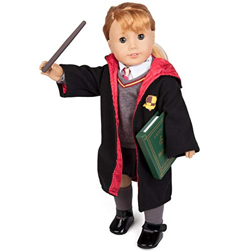 """Deluxe Harry Potter Hermione Granger Inspired Doll Clothes for American Girl & 18"""" Dolls - 9pc Hogwarts like School Uniform Includes Book, Wand, Robe, Shirt, Skirt, Sweater, Tie, Socks & Shoes"""