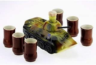 souvenir ceramic bottle-shtof atc tank decanter for whiskey vodka brandy wine 1.0L with 6 wineglasses