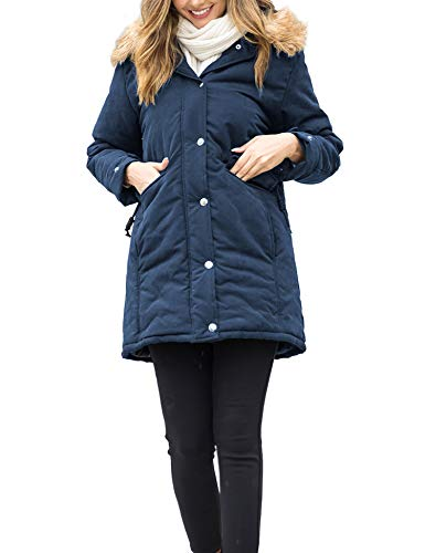Beyove Womens Thicken Winter Coats Hooded Warm Winter Parka with Faux Fur Jackets - - x-Large