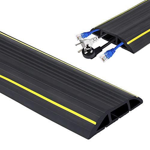 Cubierta de cable de suelo – 3 canales de cable, protector de cable de suelo, protector de cable de conducto de PVC flexible, canal de corrector, protege cables y evita riesgos de viaje (6 m)
