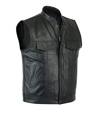 DeColure Chaleco de cuero para hombre, estilo retro, para hombre, color negro