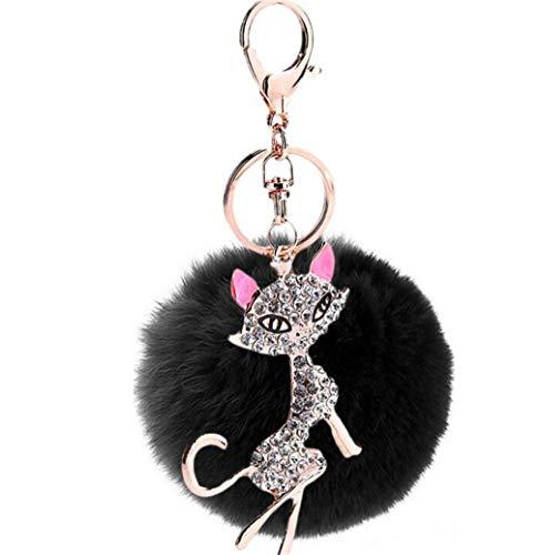 Schlüsselanhänger Pompom Keychain plüsch Ball Taschenanhänger Strass bommel Pelz-Kugel Auto-Anhänger Weich Schlüsselring Mode Katze mit Strass Anhänger (Schwarz)