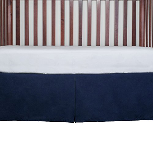 Tailored Crib Bed Skirt Dust Ruffle 15 inches long Color: Navy Blue