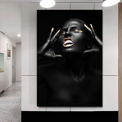 QWESFX Schwarze Frau mit Kopfschmerzen Malerei Tier Leinwanddrucke Ölgemälde Leinwand Kunst Wandmalereien für Wohnzimmer Modern (Druck ohne Rahmen) A2 40x80CM
