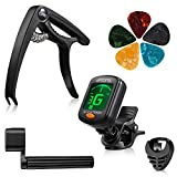 Guitar Accessories Set 9 Pieces Guitar Tool Kit Including Guitar Capo, Tuner, String Winder, Guitar Picks, Guitar Bones Pick Holder for acoustic electric guitar player