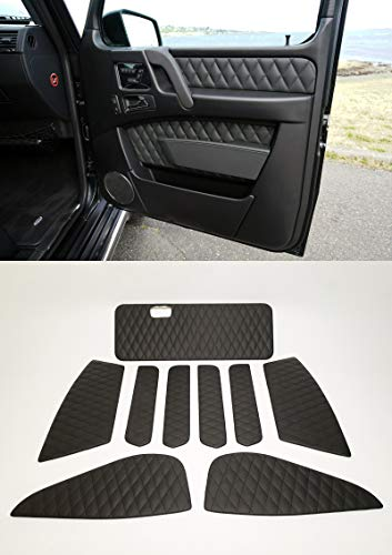 Interior Door Trim Panels - Inserts for Door Cards Set of 9 pcs – ECO Leather Black Stitching – AMG BRABUS styles – for Mercedes-Benz W463 G-Class 2001-2018