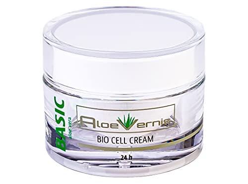 AloeVernis® BASIC aloe vera BIO CELL CREAM 24h 50 ml - Hyaluron, Collagen, Arganöl + 2 GRATIS Ampullen