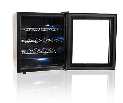 Alpina Enfriador de Vino de 60 W, 48 litros, 16 Botellas, Color Negro y Plateado, 48 x 43 x 51 cm