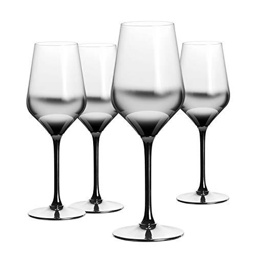 HOMQUEN Bicchiere da Vino Rosso 13 Once, 9', calici in Vetro soffiato a Mano, Vetro Elegante, Ottimo per Feste, Matrimoni, San Valentino e Regali, Set di 4 (Trasparente con sfumatura Nera)