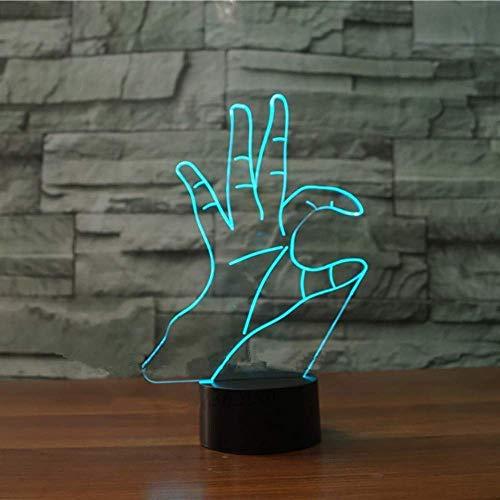 3D pop-ups veranderen in 7 kleuren als het hart bureaulamp LED visueel baardtaal nachtlampje slaapkamer slaapkamer verlichting decor geschenk