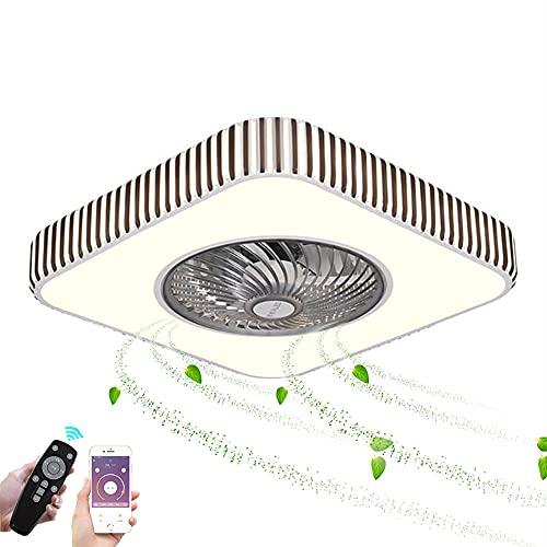 ZBYL Invisible Ventilador de Techo Silencioso LED Luz Regulable con Mando a Distancia Lámpara de Techo 3 Velocidades De Viento Ventilador de Iluminación para Dormitorio Salón Luz del Ventilador