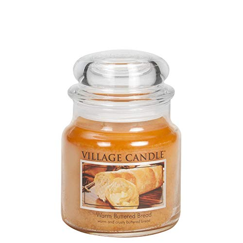 Village Candle Warm Buttered Bread Medium Glass Apothecary Jar Scented Candle, 13.75 oz, Brown