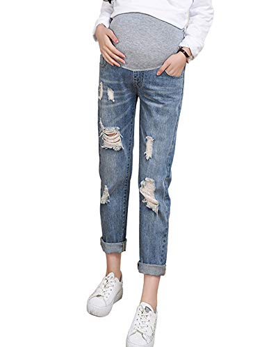 Shaoyao Damen Umstandsmode Schwangere Jeanshose Leggings Umstandsjeans Destroyed Umstandshose Blau Etikett XL/EU 40
