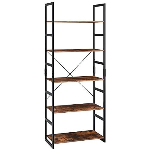 ADSE Shelf Ladder Shelf 5-Tier Bookshelf Storage Rack Display Shelving Unit Plant Stand with Metal Frame 60x30x158cm