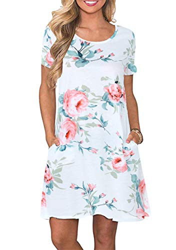 OMZIN Damen Strandkleid geblümt Bedruckt Sommerkleider Kurzarm Kurz Casual Kleid Weiße Rose XL