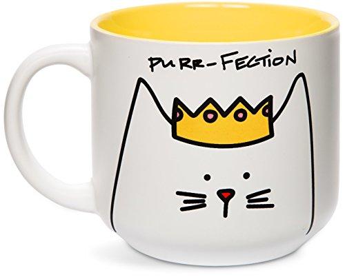 Pavilion Gift Company - Taza de desayuno, diseño de gato con texto'Blobby Cat, Funny Cat Purr-Fection', color amarillo