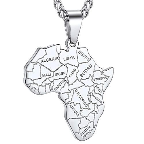 GoldChic Jewelry Mapa afrykańska naszyjnik z wisiorkiem w kształcie mapy afrykańskiej, stal nierdzewna 316L zwierzęta afrykańskie/wzór geometryczny/oko konia / biżuteria ze słoniem, złoty naszyjnik w stylu hip hop, możliwość personalizacji e 1, nie jest niestandardowy, colore: 1, wiejska granica – stal nierdzewna, cod. DP22067G-EUG