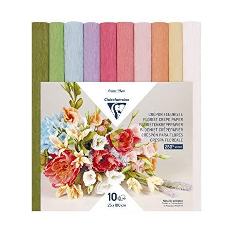 Clairefontaine 995000C – ein Paket mit 10 Rollen für Floristen, 25 x 100 cm, verschiedene Pastellfarben