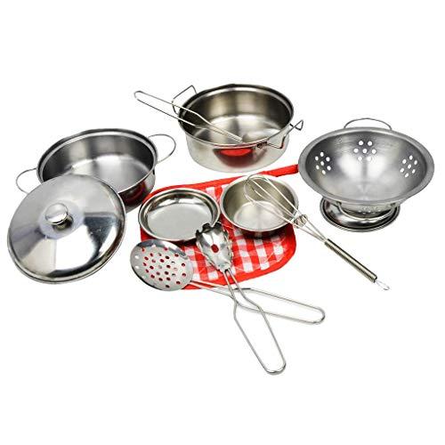 PULABO Küche vorgeben, Spielen Spielzeug, Kochset, Töpfe und Pfannen, Kochgeschirr Spielset 10 Stück, Edelstahl langlebig und nützlich