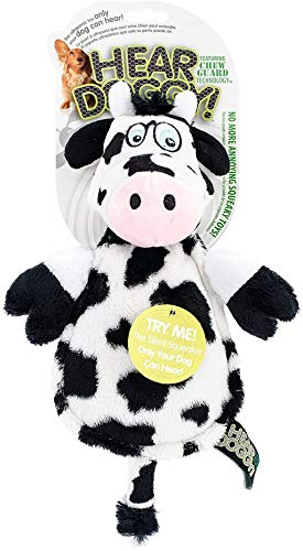Hear Doggy Flatties with Chew Guard Technology Dog Toy, Cow, Large, White/Black, Model:58544