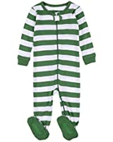 Leveret Kids Pajamas Baby Boys Girls Footed Pajamas Sleeper 100% Cotton (Green/White, Size 12-18 Months)