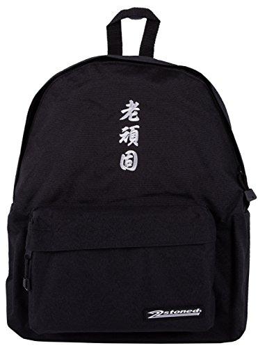 2Stoned Original Freizeitrucksack mit Stickmotiv China stoned in Schwarz