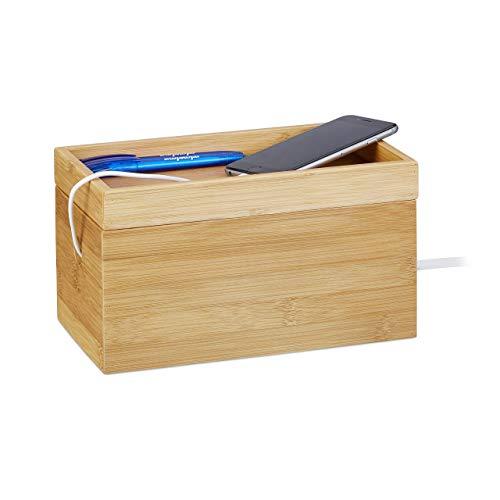Relaxdays Kabelbox Bambus, mehrfach, kompakt, universell, praktisch, Kabelmanagement, H x B x T 14 x 25,5 x 14 cm, Natur