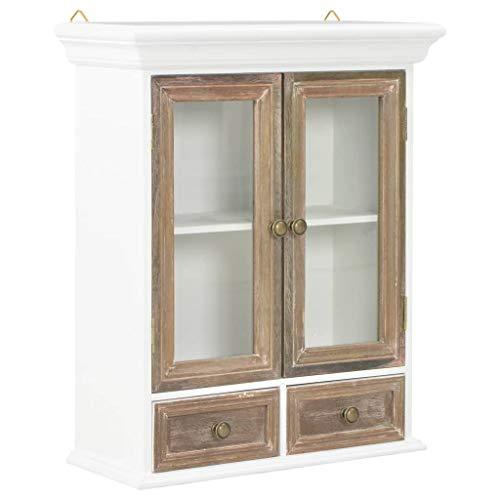 vidaXL Massivholz Wandschrank Hängeschrank mit 2 Türen 2 Schubladen Badschrank Badezimmerschrank Küchenschrank Schrank Vitrine Braun Weiß 49x22x59 cm Glas