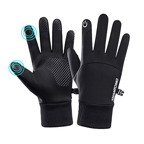 DHSO Waterproof Winter Gloves - Thermal Touchscreen Running Cycling Gloves Men and Women (A1 Black, X-Large)