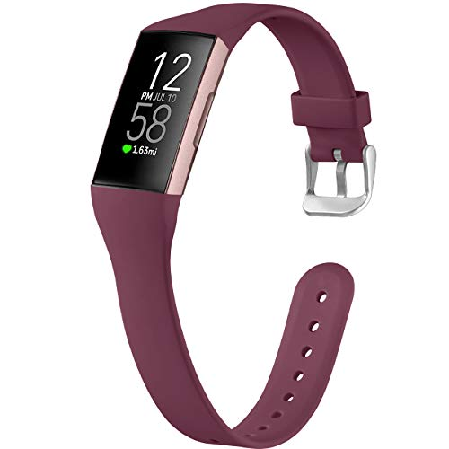 how to get started and stick with a fitbit 2021 GEAK Compatible with Fitbit Charge 4 Bands/Charge 3 Bands for Women Men,Slim Soft Silicone Sports Wristbands for Fitbit Charge 3/Charge 4 Bands/Charge 3 SE, Small Burgundy