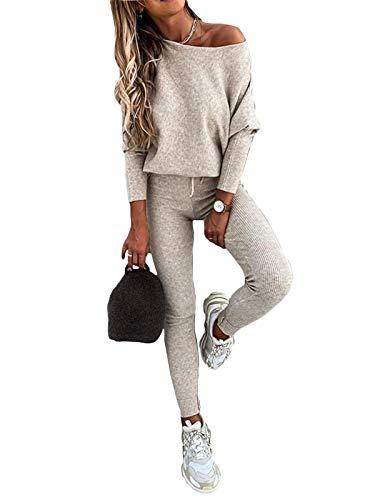 Minetom Tuta da Ginnastica Donna Una Spalla Tute Pullover Maglione + Pantaloni Set Training Sportivo a Maglia Completo Sportswear 2 Pezzi A Beige 38