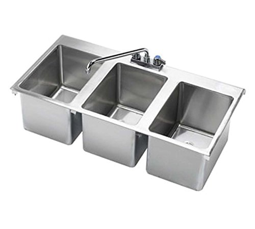 Krowne 36' x 18' Three Compartment Drop-In Hand Sink, HS-3819
