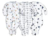Sibinulo Niño Niña Pijama Bebé Pelele de ABS Pack de 3 Estrellas, Elefantes Grises y Ratones 80(9-12 Meses)