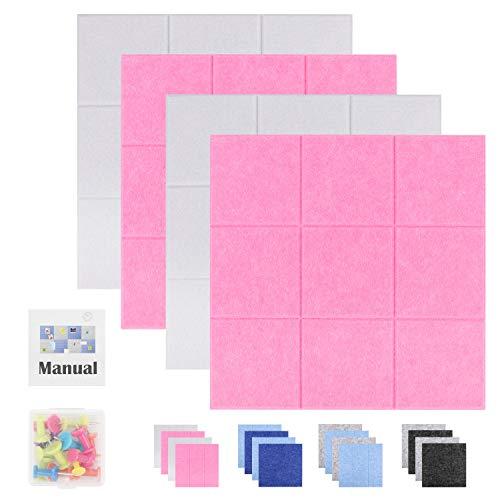 SEG Direct 30 cm x 30 cm Große Quadratische Filz-Pinnwand | Memotafeln, Schwarzes Brett und Notizbrett für das Büro | Dekorative Pinnwand für Kinder 4er-Set mit Druckstiften | 2 Weiß und 2 Pink