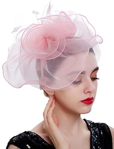 BABEYOND Tea Party Fascinator Hat Pillbox Hat Fascinator Veil Derby Hat Headband (Light Pink)