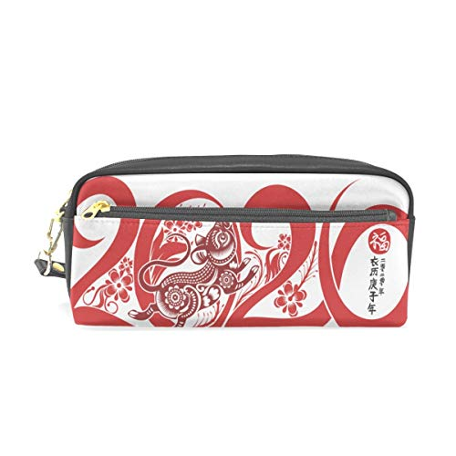 Happy Chinese New Year 2020 Pattern Pen Cases Organizer PU Leather Comestic Makeup Bag Make up Pouch