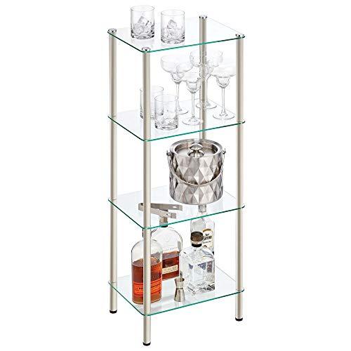 mDesign Estante de pie con 4 baldas – Estante de metal y cristal de diseño moderno – Compacta estantería decorativa para baño, despacho, dormitorio o salón – plateado mate y transparente