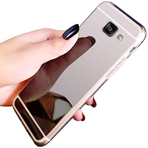 QPOLLY Compatible con Samsung Galaxy A5 2016 Funda Glitter Bling Brillante Enchapado Silicona TPU Ultra Delgado Transparente Gel Suave Cubierta Protectora Case Cover para Samsung Galaxy A5 2016,Plata