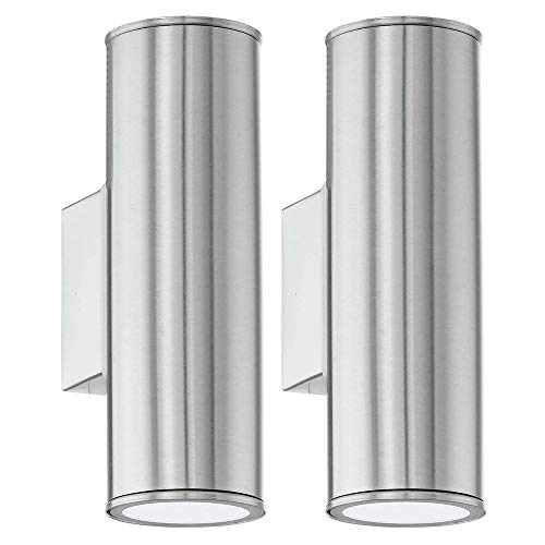 2 Pack - Stainless Steel LED Outdoor Modern Up & Down Cylindrical Spot Wall Light | 2 x 3W LED GU10 Lamp Bulbs Included 240 Lumen | IP44 Exterior Rated | Garden & Patio