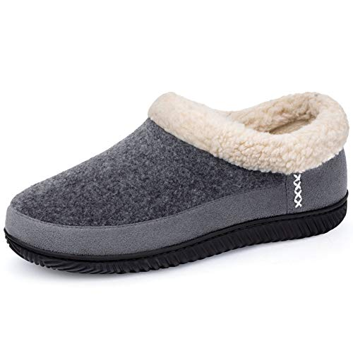 ULTRAIDEAS Men's Warm Memory Foam Slippers with Wool-Like Collar & Polar Fleece Lining, Suede House Shoes Indoor/Outdoor (Large, 11 US, Black)